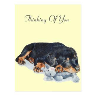 cute rottweiler puppy dog cuddling teddy bear art postcard