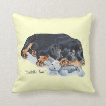 cute rottweiler puppy dog cuddling teddy bear art throw pillow