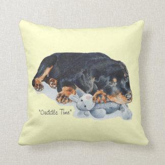 cute rottweiler puppy dog cuddling teddy bear art throw pillow