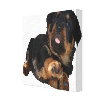 Cute Rottweiler Puppy Vector Canvas Print