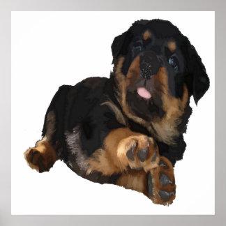 Cute Rottweiler Puppy Vector Poster