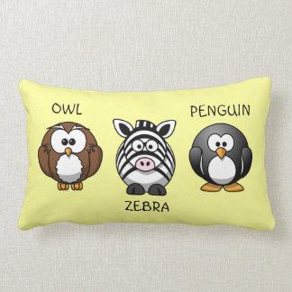 Cute Round Cartoon Animals Owl Zebra Penguin Names Pillow