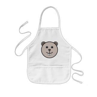 Cute Round Cartoon Bear Face Kids' Apron
