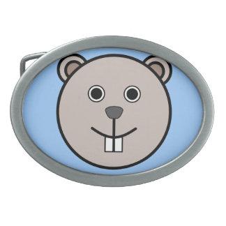 Cute Round Cartoon Bear Face Oval Belt Buckle