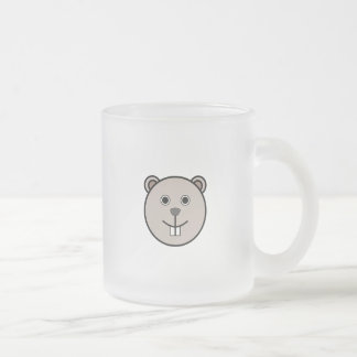 Cute Round Cartoon Bear Face Frosted Glass Coffee Mug