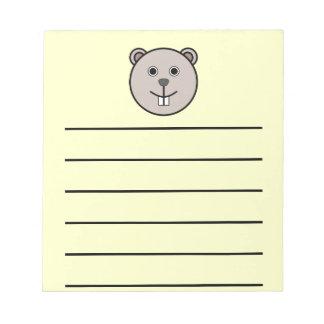 Cute Round Cartoon Bear Face Notepad