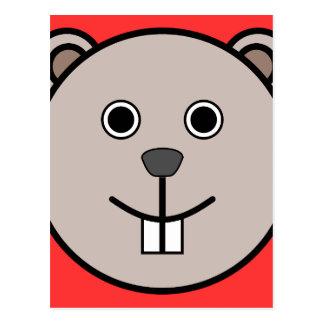 Cute Round Cartoon Bear Face Postcard