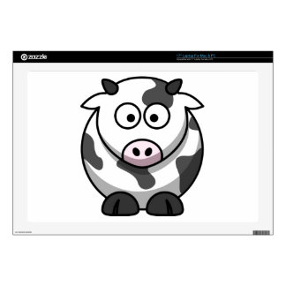 "Cute Round Cartoon Cow Pink Nose Farm Animal 17"" Laptop Decals"
