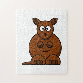 Cute Round Cartoon Kangaroo Jigsaw Puzzle