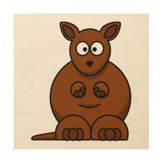 Cute Round Cartoon Kangaroo Wood Print