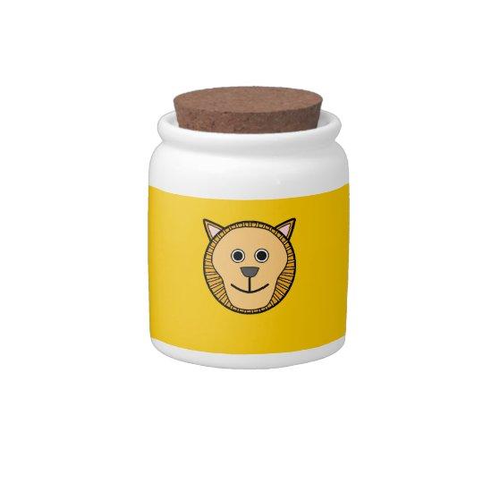 Cute Round Cartoon Lion Face Candy Jar