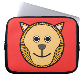 Cute Round Cartoon Lion Face Computer Sleeve