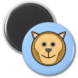 Cute Round Cartoon Lion Face Magnet