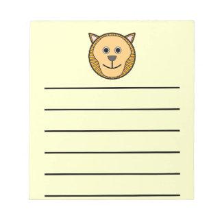 Cute Round Cartoon Lion Face Memo Notepad