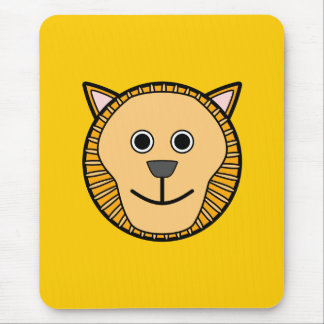 Cute Round Cartoon Lion Face Mouse Pad