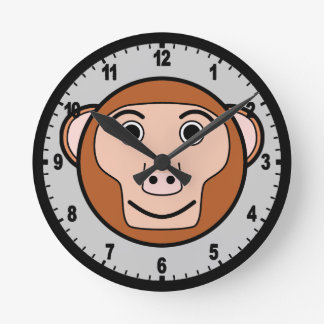 Cute Round Cartoon Monkey Face Clock
