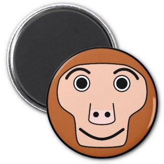 Cute Round Cartoon Monkey Face Magnet