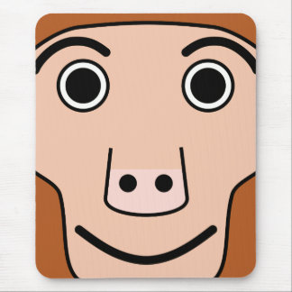 Cute Round Cartoon Monkey Face Mouse Pad