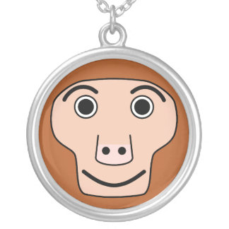 Cute Round Cartoon Monkey Face Silver Plated Necklace