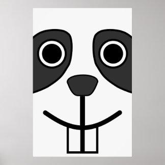 Cute Round Cartoon Panda Face Poster