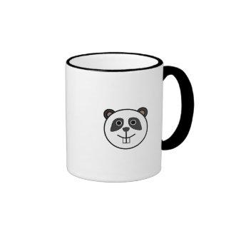 Cute Round Cartoon Panda Face Ringer Coffee Mug