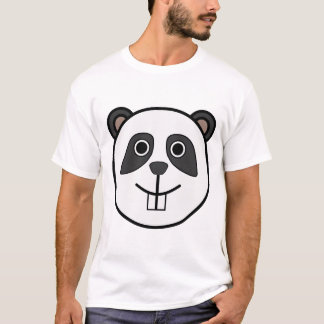 Cute Round Cartoon Panda Face T-Shirt