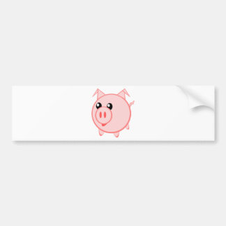Cute Round Cartoon Pig Bumper Sticker