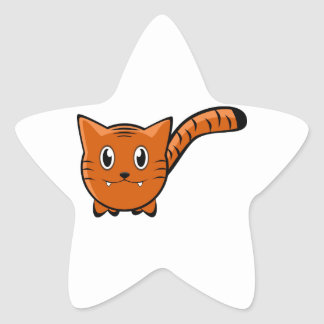 Cute Round Cartoon Tiger Star Sticker