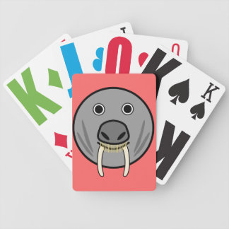 Cute Round Cartoon Walrus Face Bicycle Playing Cards