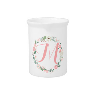 Cute Round Floral Frame Monogram Drink Pitcher at Zazzle