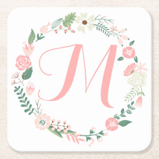 Cute Round Floral Frame Monogram Square Paper Coaster