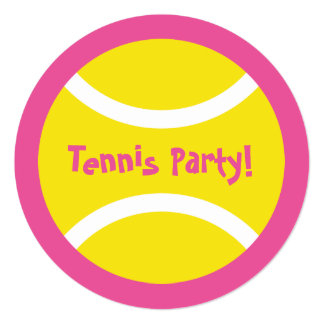 Cute round girls tennis Birthday party invitations