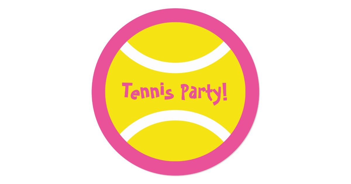 Cute round girls tennis Birthday party invitations | Zazzle.com