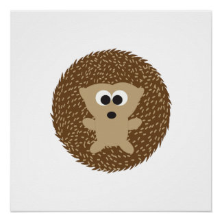 Cute Round Hedgehog Poster