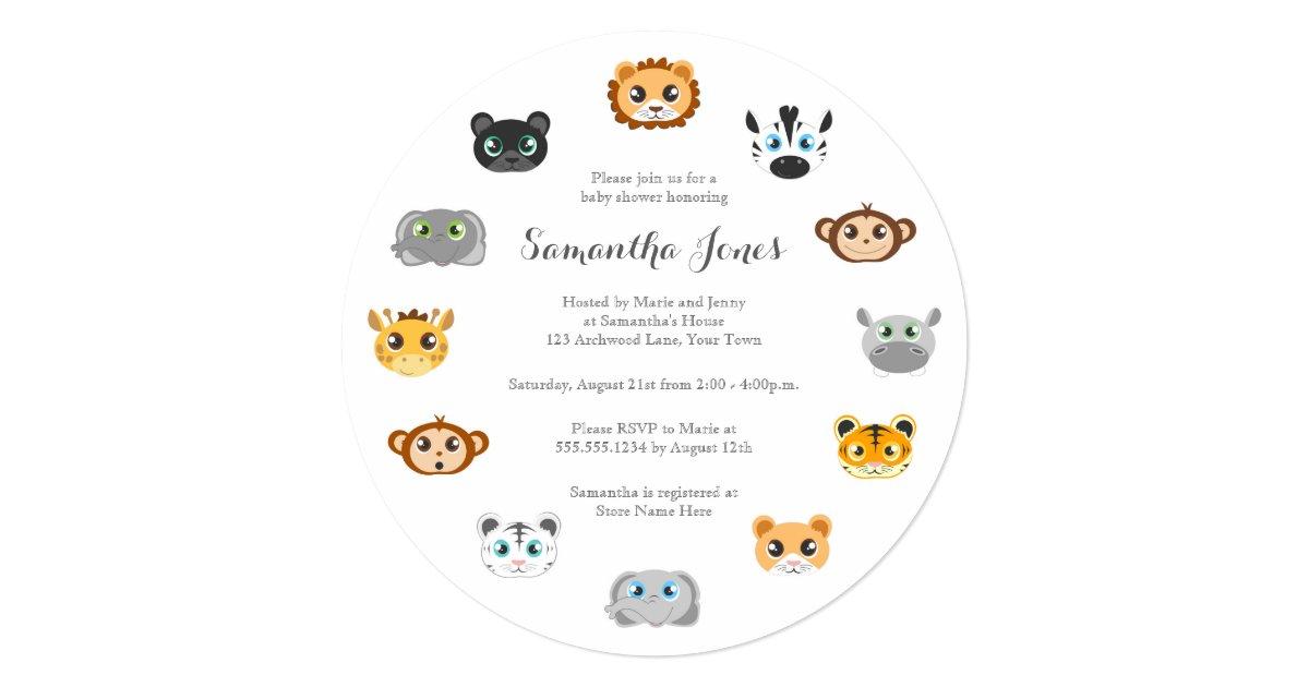 cute round jungle animal theme baby shower card zazzle