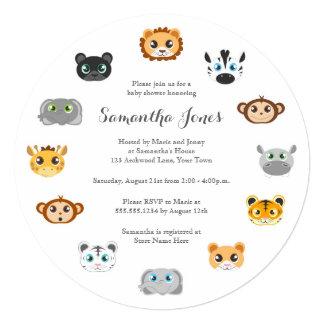 "Cute Round Jungle Animal Theme Baby Shower 5.25"" Square Invitation Card"