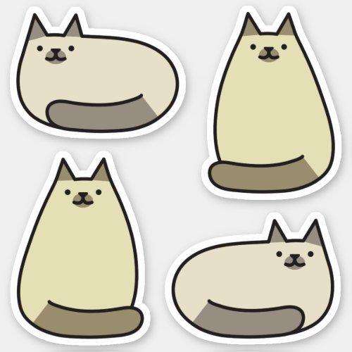 Cute Round Kawaii Gray Siamese Cat Sticker