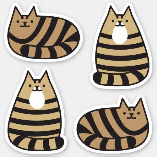 Cute Round Kawaii Stripey Brown Tabby Cat Sticker