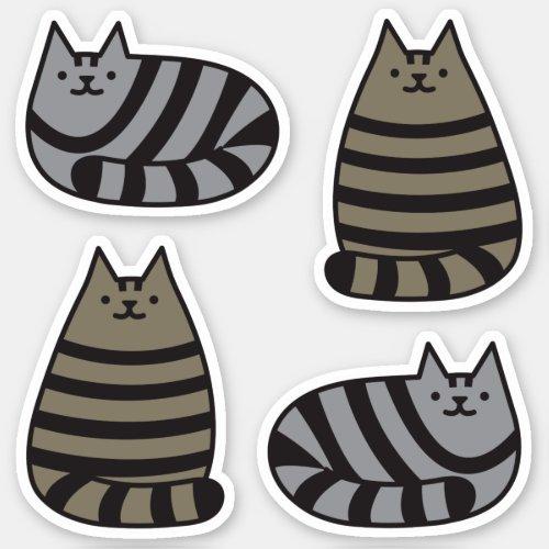 Cute Round Kawaii Stripey Gray Tabby Cat Sticker