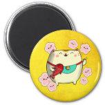 Cute Round Maneki Neko Cat 2 Inch Round Magnet