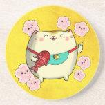 Cute Round Maneki Neko Cat Coasters