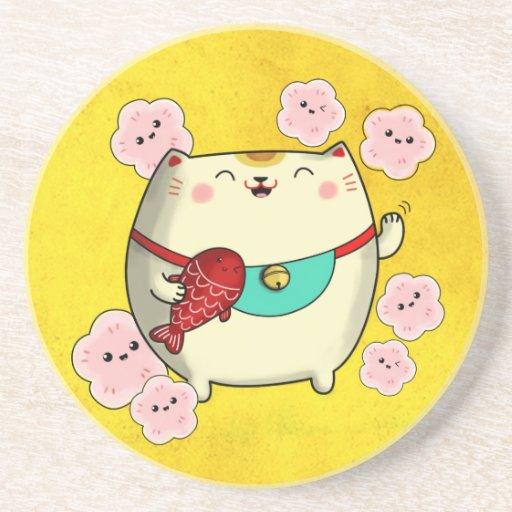 Cute Round Maneki Neko Cat Drink Coaster Zazzle