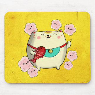 Cute Round Maneki Neko Cat Mouse Pad