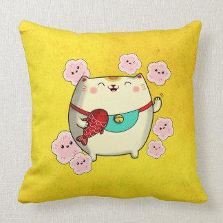 Cute Round Maneki Neko Cat Throw Pillows