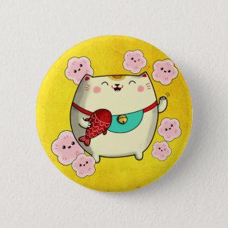 Cute Round Maneki Neko Cat Pinback Button