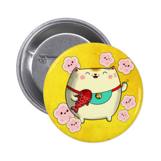 Cute Round Maneki Neko Cat Pinback Button