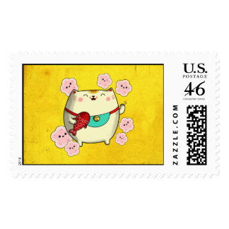 Cute Round Maneki Neko Cat Stamp