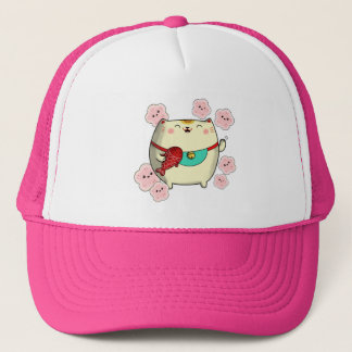 Cute Round Maneki Neko Cat Trucker Hat