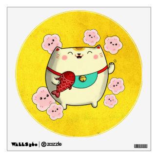 Cute Round Maneki Neko Cat Room Decal