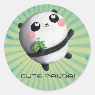 Cute Round Panda Classic Round Sticker